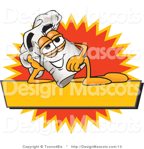 Clipart of a Chefs Hat Mascot Resting over a Blank Yellow Label - Royalty Free