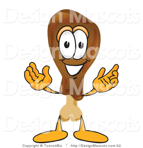 Clipart of a Chicken Drumstick Character with Open Arms - Royalty Free
