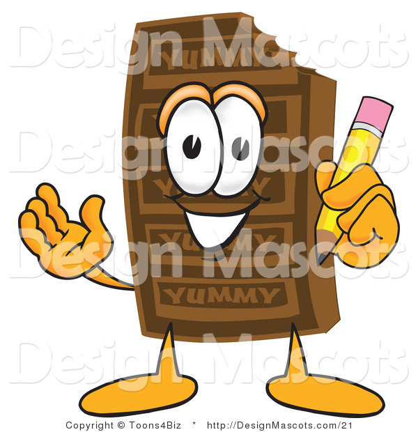 Clipart of a Chocolate Candy Bar Mascot with a Pencil - Royalty Free