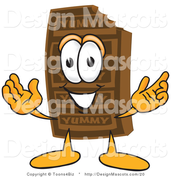 Clipart of a Chocolate Candy Bar Mascot with Open Arms - Royalty Free