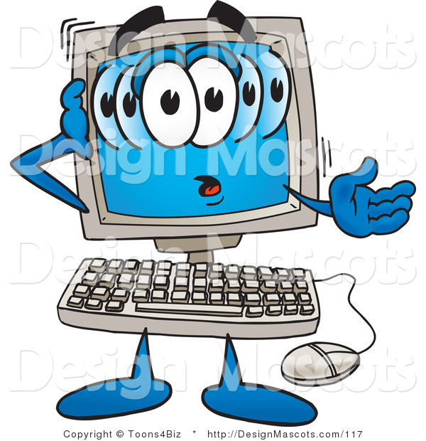 Clipart of a Confused Desktop - Royalty Free