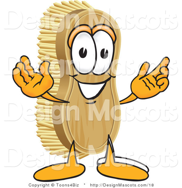 Clipart of a Friendly Scrub Brush Mascot - Royalty Free