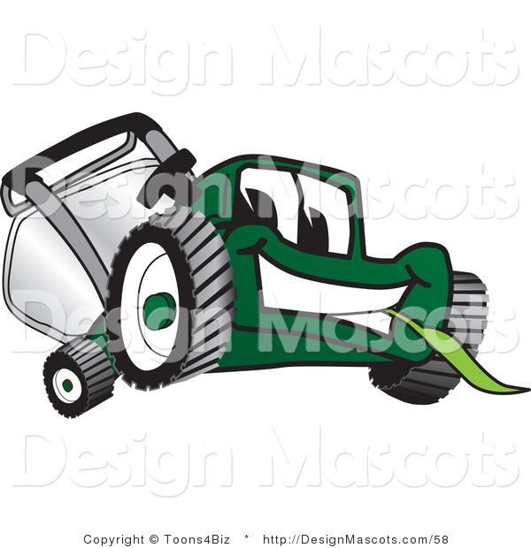 Clipart of a Green Lawn Mower Mascot Eating Grass - Royalty Free