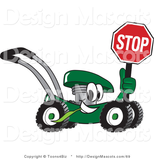 Clipart of a Green Lawn Mower Mascot Holding a Stop Sign - Royalty Free