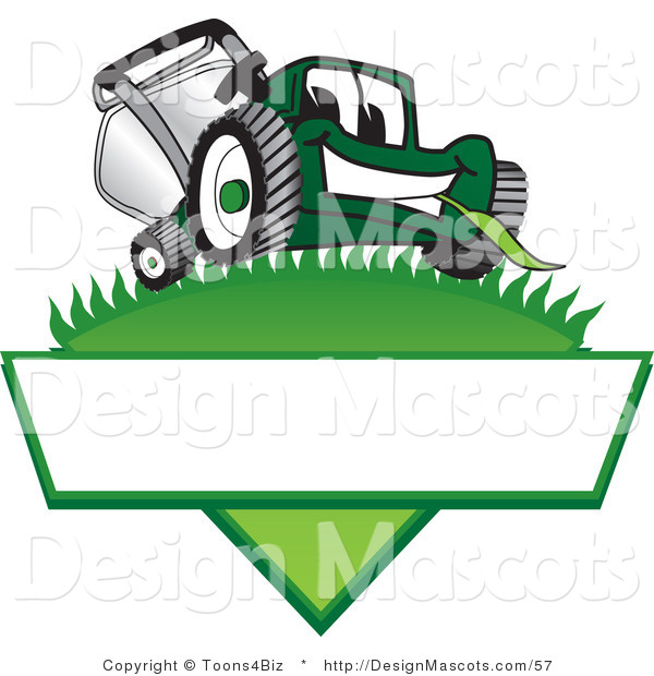 Clipart of a Green Lawn Mower Mascot on a Logo - Royalty Free