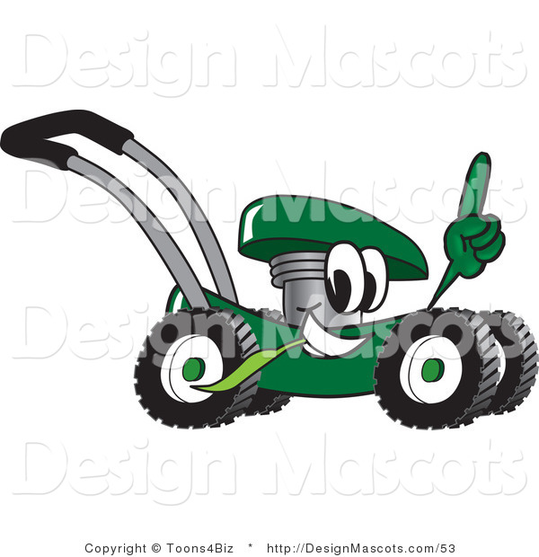 Clipart of a Green Lawn Mower Mascot Passing by and Pointing Upwards - Royalty Free