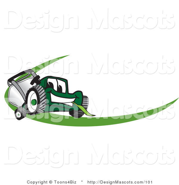 Clipart of a Green Lawn Mower Mascot - Royalty Free