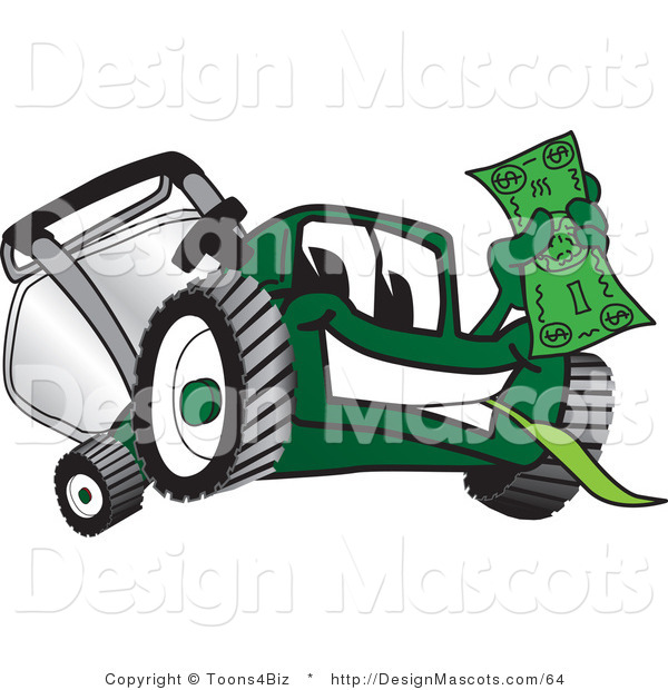 Clipart of a Green Lawn Mower Mascot Waving a Dollar Bill - Royalty Free