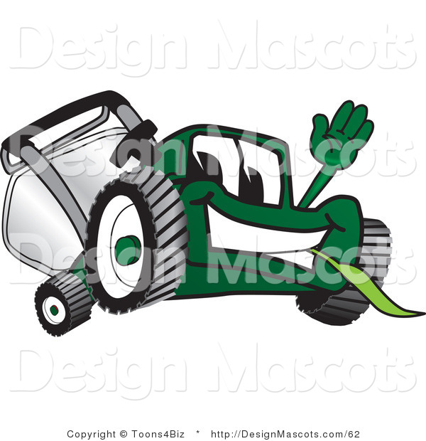 Clipart of a Green Lawn Mower Mascot Waving - Royalty Free