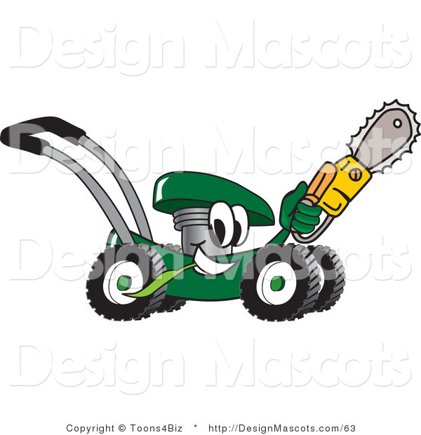 Clipart of a Green Lawn Mower Mascot with a Saw - Royalty Free