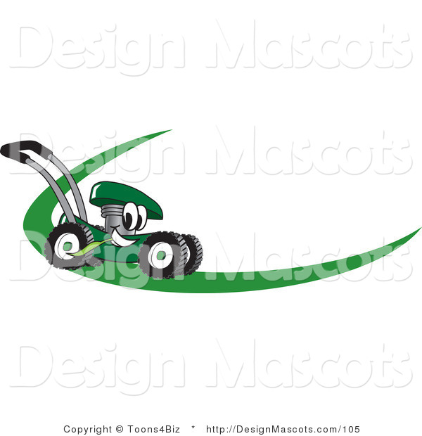 Clipart of a Green Lawn Mower - Royalty Free
