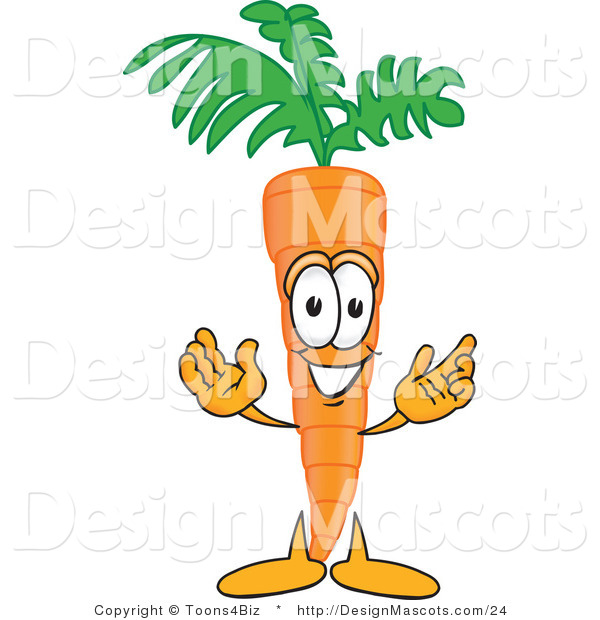 Clipart of a Orange Carrot Mascot with Open Arms - Royalty Free