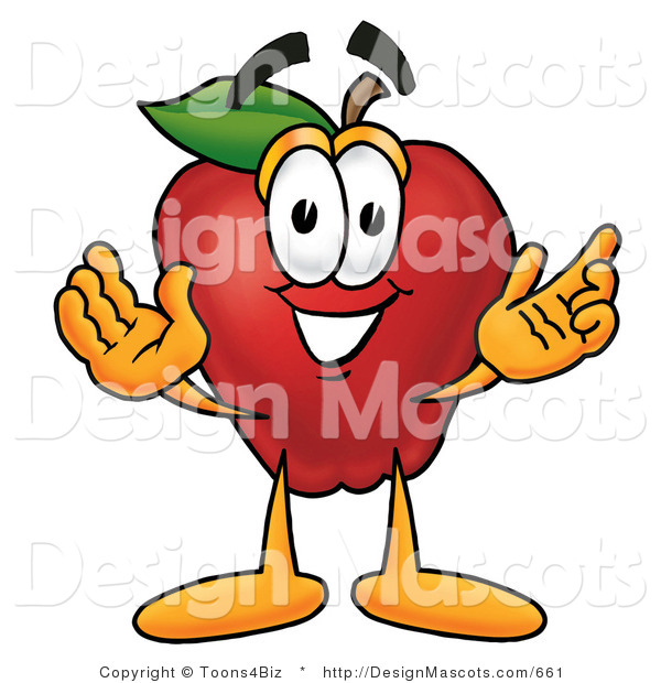 Clipart of a Red Apple Character Mascot with Open Arms - Royalty Free