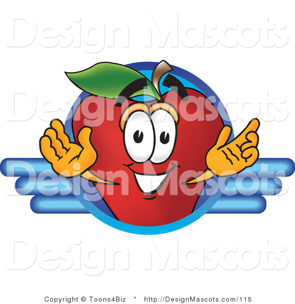Clipart of a Red Apple Mascot - Royalty Free