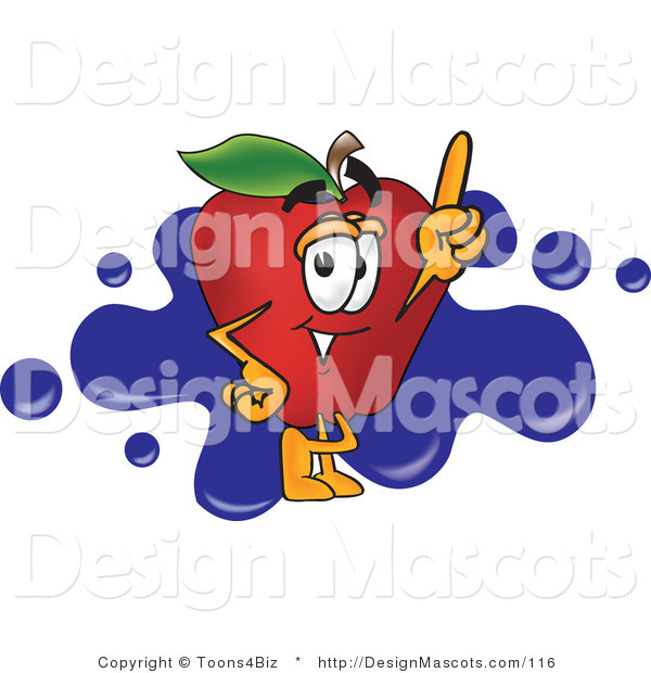 Clipart of a Red Apple with Finger - Royalty Free