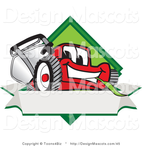 Clipart of a Red Lawn Mower Mascot Blank Banner - Royalty Free