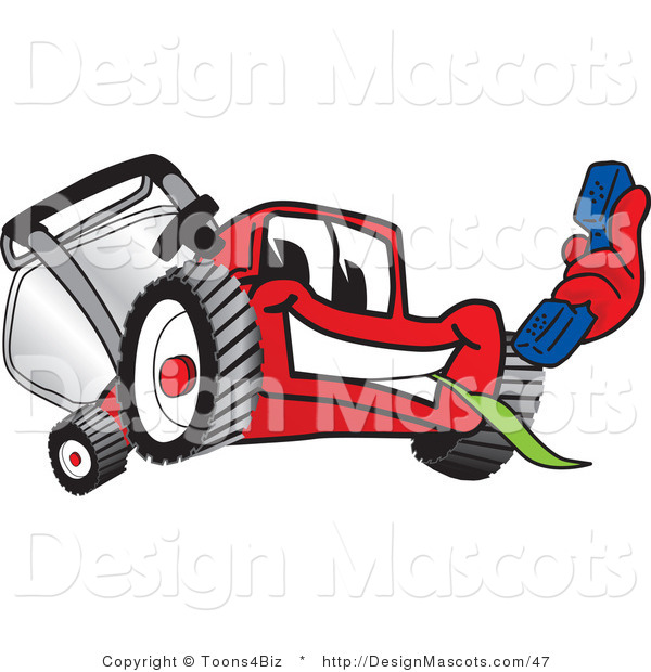 Clipart of a Red Lawn Mower Mascot Holding a Blue Telephone - Royalty Free