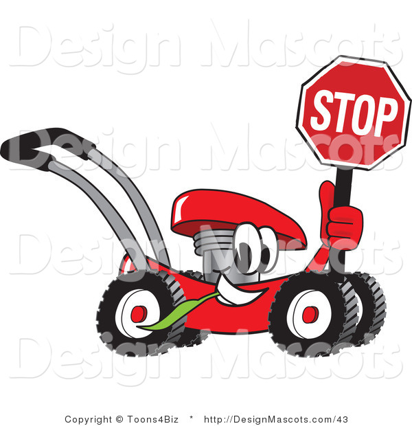 Clipart of a Red Lawn Mower Mascot Holding a Stop Sign - Royalty Free