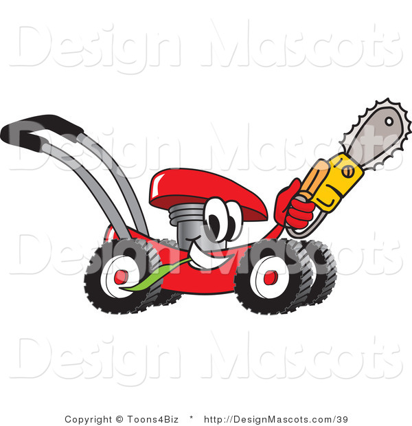 Clipart of a Red Lawn Mower Mascot Holding up a Saw - Royalty Free