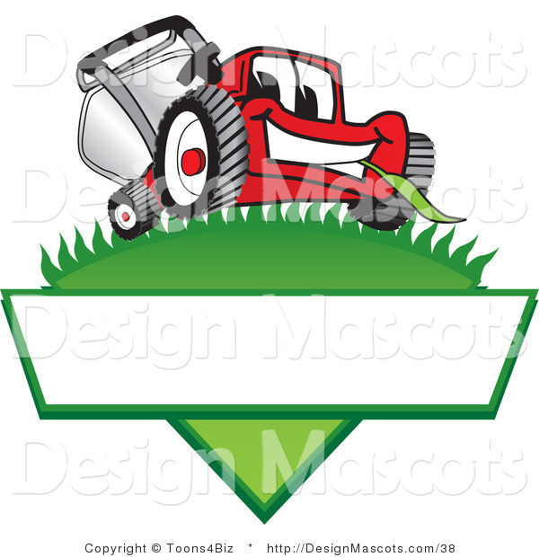 Clipart of a Red Lawn Mower Mascot on a Blank Label - Royalty Free
