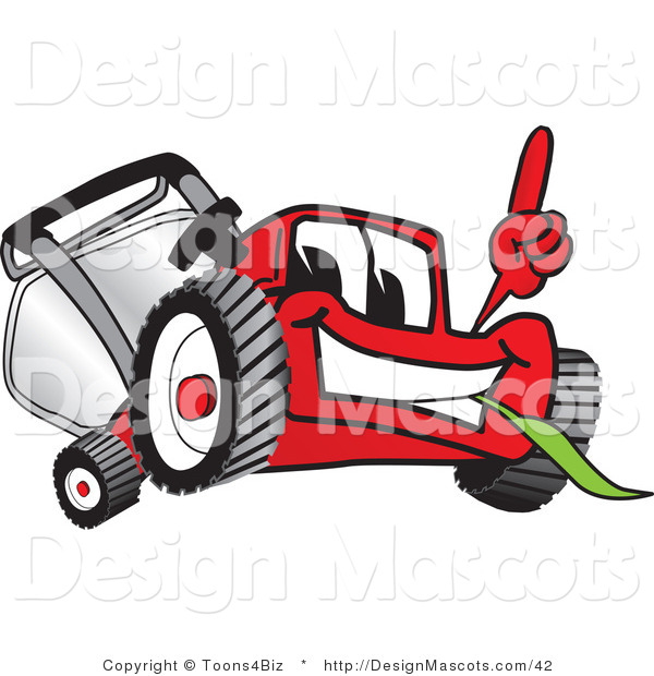 Clipart of a Red Lawn Mower Mascot Pointing - Royalty Free