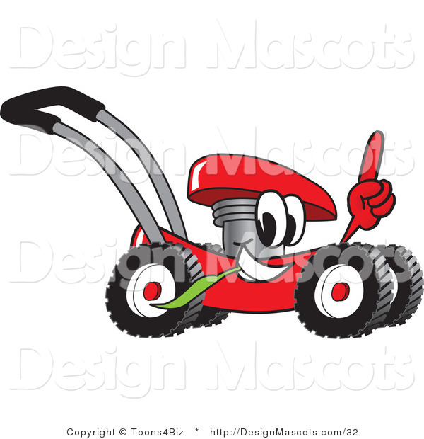Clipart of a Red Lawn Mower Mascot Pointing up - Royalty Free