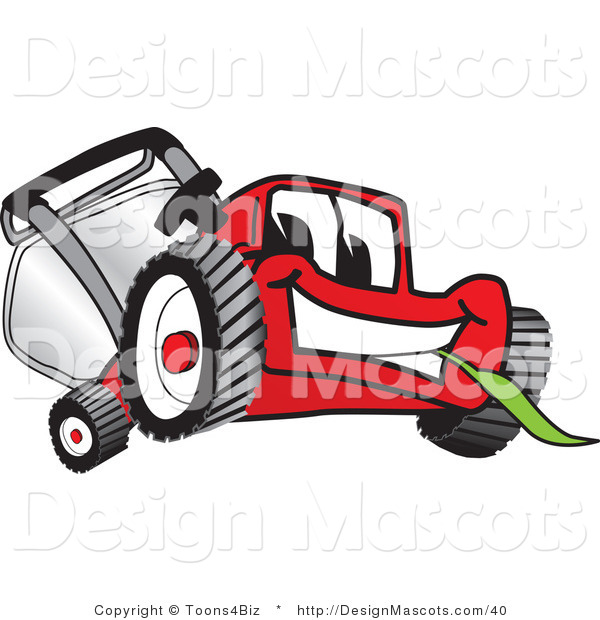 Clipart of a Red Lawn Mower Mascot Smiling - Royalty Free
