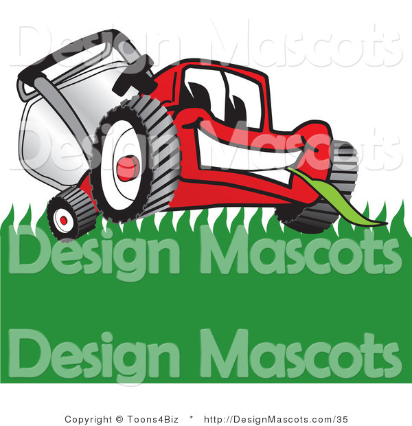Clipart of a Red Lawn Mower Mascot Smiling While Mowing Grass - Royalty Free