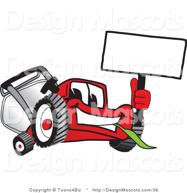 Clipart of a Red Lawn Mower Mascot Waving a Sign - Royalty Free