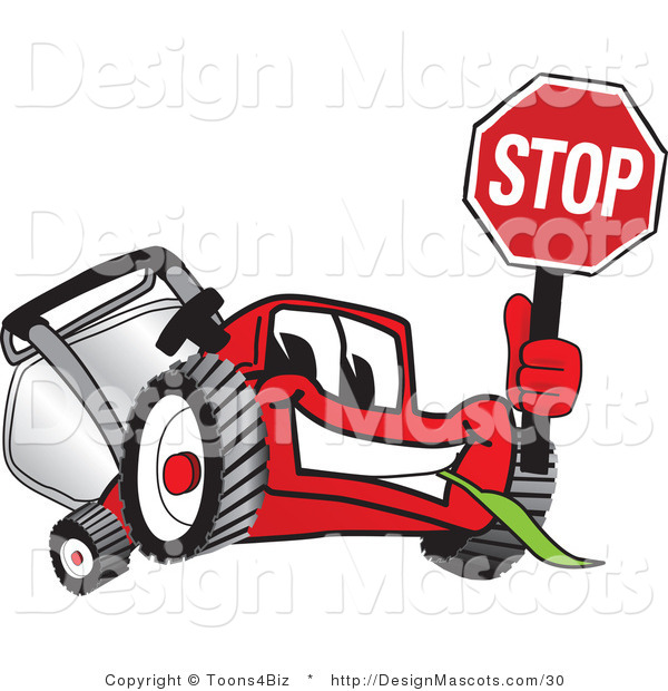 Clipart of a Red Lawn Mower Mascot Waving a Stop Sign - Royalty Free