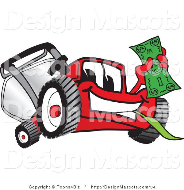Clipart of a Red Lawn Mower Mascot Waving Cash - Royalty Free