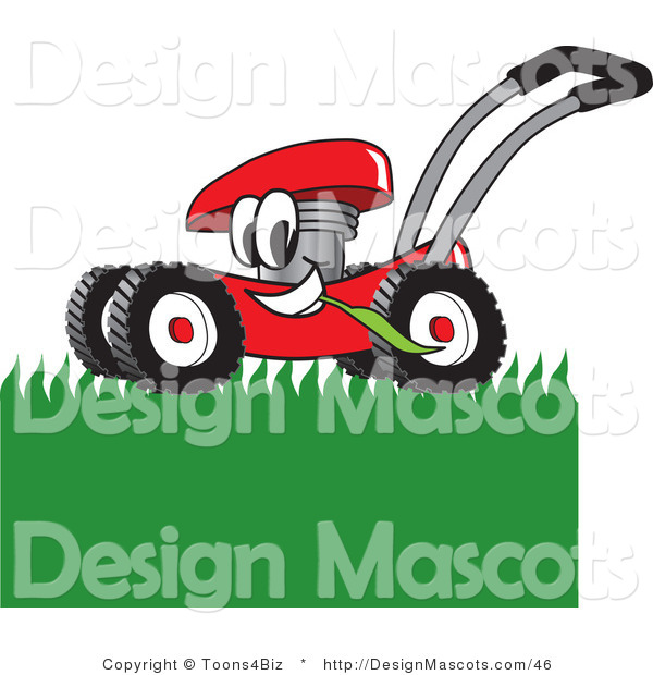 Clipart of a Red Lawn Mower Mowing Grass - Royalty Free