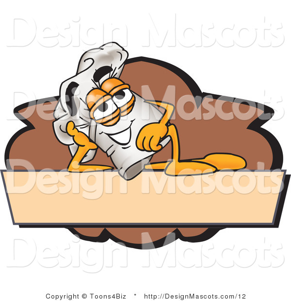 Clipart of a Relaxed Chefs Hat Mascot Cartoon Character Resting over a Blank Brown Label - Royalty Free