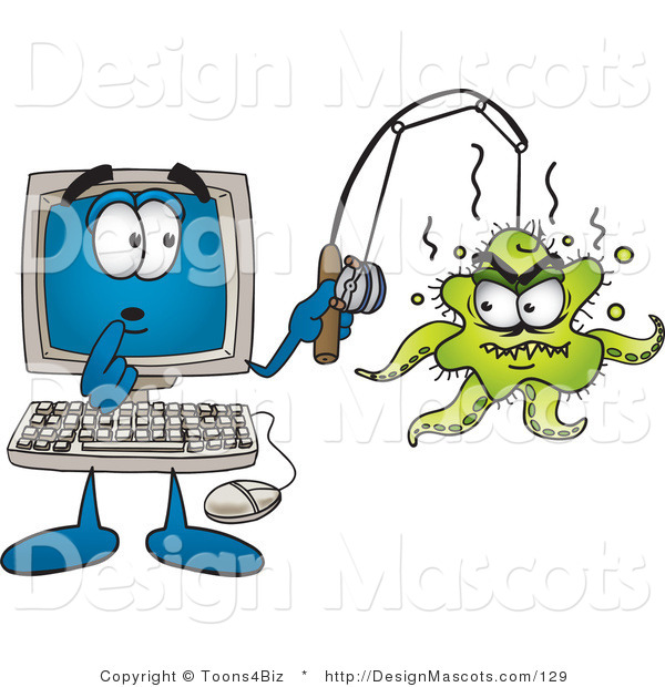 Clipart of a Shocked Desktop - Royalty Free