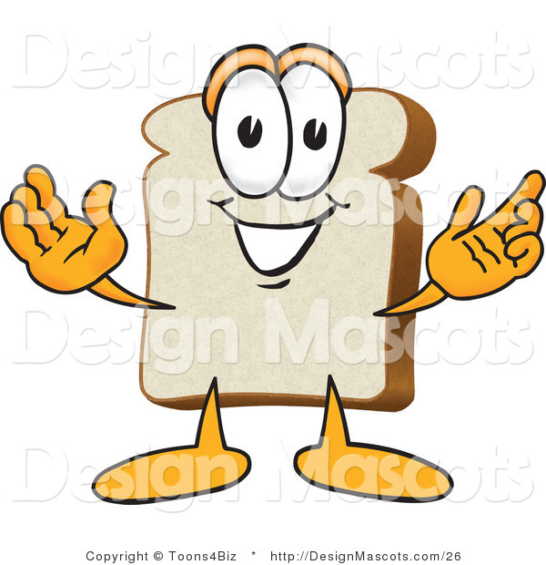 Clipart of a White Bread Food Mascot with Arms Open - Royalty Free