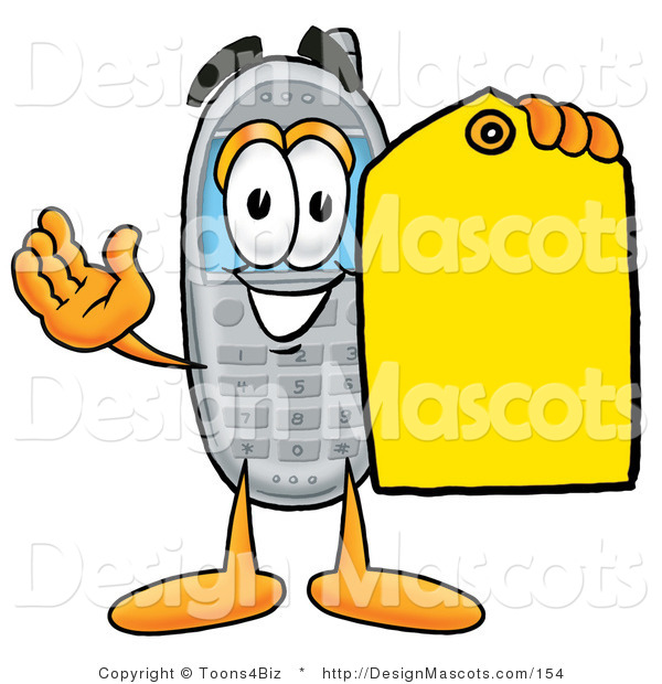 Clipart of a Wireless Cellular Holding a Yellow Sales Price Tag - Royalty Free
