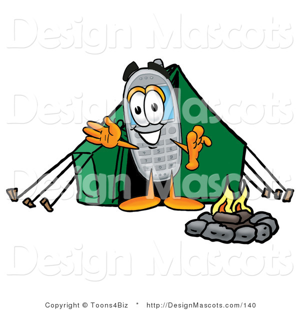 Clipart of a Wireless Telephone - Royalty Free