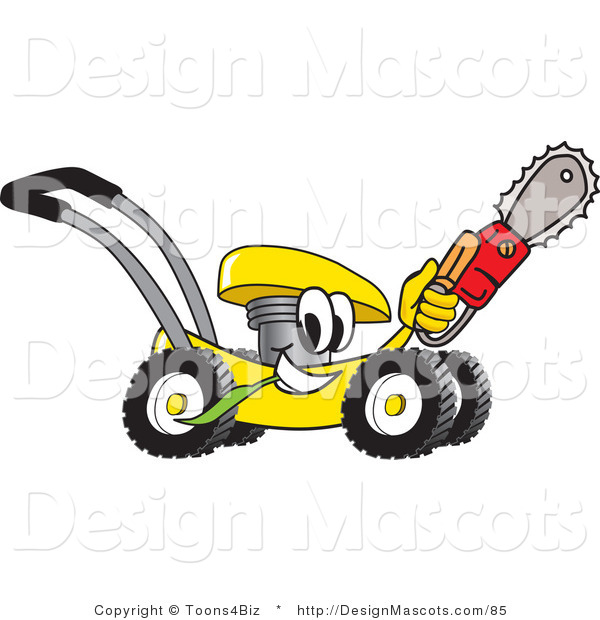 Clipart of a Yellow Lawn Mower Carrying a Saw - Royalty Free