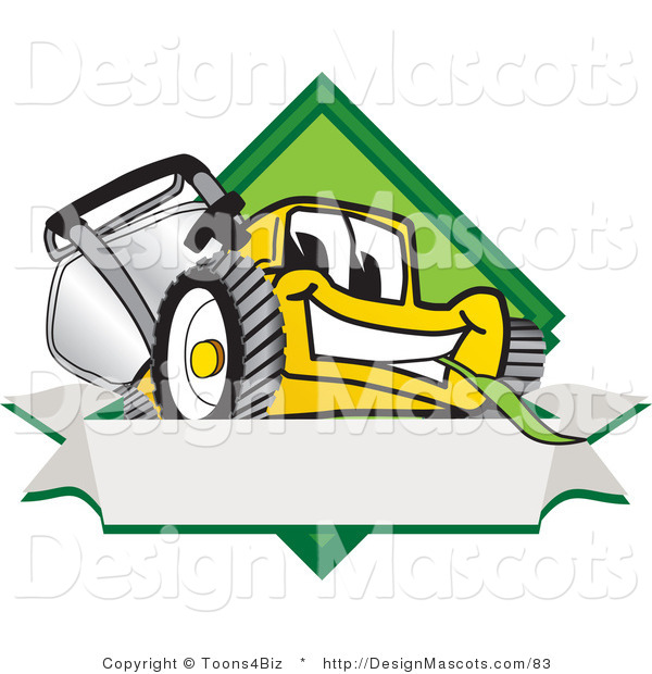 Clipart of a Yellow Lawn Mower Cartoon - Royalty Free