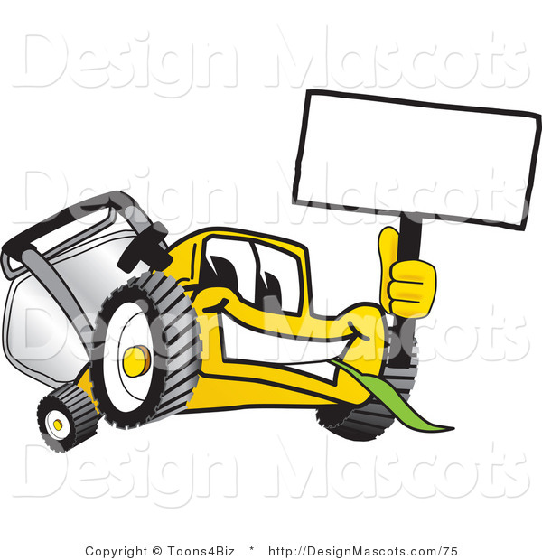 Clipart of a Yellow Lawn Mower Holding a Sign - Royalty Free