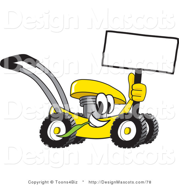 Clipart of a Yellow Lawn Mower Mascot Cartoon Passing by - Royalty Free