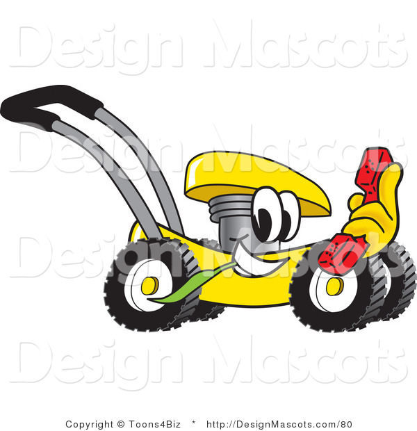 Clipart of a Yellow Lawn Mower Mascot Cartoon - Royalty Free