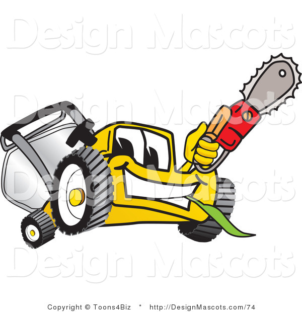 Clipart of a Yellow Lawn Mower Mascot Holding up a Saw - Royalty Free