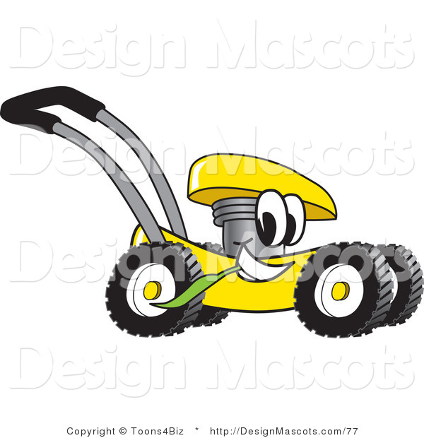 Clipart of a Yellow Lawn Mower Mascot - Royalty Free