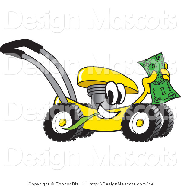 Clipart of a Yellow Lawn Mower Mascot Waving Cash - Royalty Free