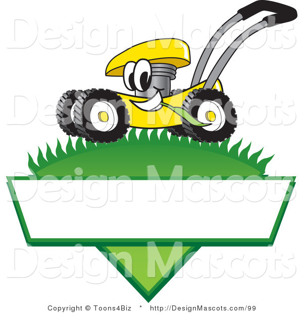 Clipart of a Yellow Lawn Mower - Royalty Free