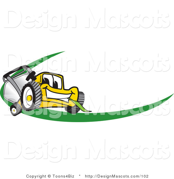 Clipart of a Yellow Mower with a Green Swoosh - Royalty Free