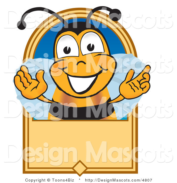 Clipart of ABee Mascot Cartoon Character on a Blank Tan Label - Royalty Free