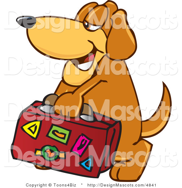 Clipart of ABrown Dog Mascot Cartoon Character Carrying Luggage - Royalty Free