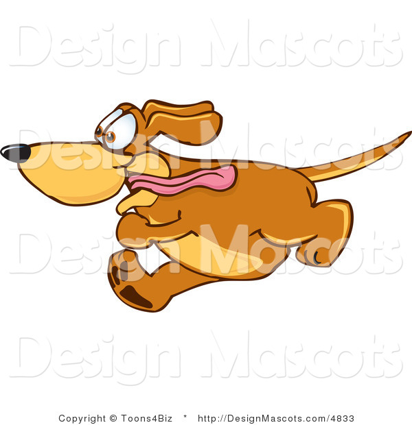 Clipart of ABrown Dog Mascot Cartoon Character Running - Royalty Free